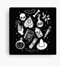 Witchy Essence Black Canvas Print