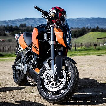 Motorbike in a vineyard. by Tonywallbank