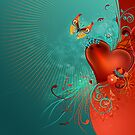 Red Heart with Butterfly by Lilyas