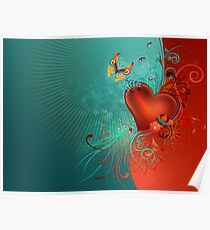 Red Heart with Butterfly Poster