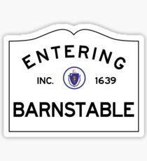 Entering Barnstable Massachusetts - Commonwealth of Massachusetts Road Sign Sticker