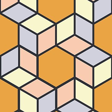Geometric Pattern: Hexagon Box: Orange by redwolfoz
