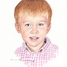 grandson in checked shirt watercolor by Mike Theuer