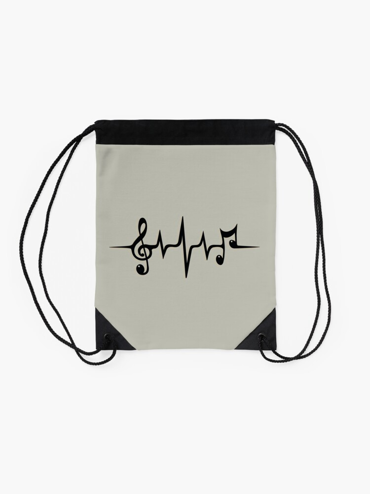 Alternate view of Music Pulse Heartbeat Notes Clef Frequency Wave Sound Festival  Drawstring Bag