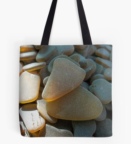 Sunlit Brown and Honey Amber Sea Glass Pieces Tote Bag
