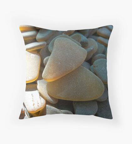 Sunlit Brown and Honey Amber Sea Glass Pieces Throw Pillow