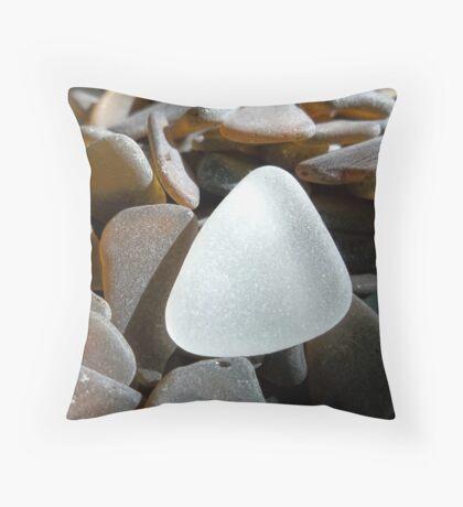 White Sea Glass on Brown Sea Glass Pieces Throw Pillow