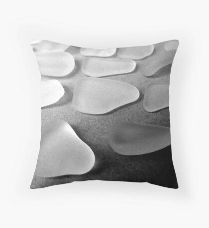 About 20 White Sea Glass Pieces Throw Pillow