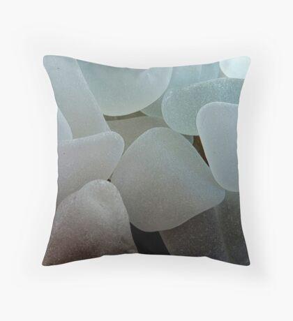 Shades of White Sea Glass Throw Pillow