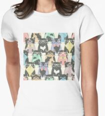 Seamless pattern with hipster cute cats Women's Fitted T-Shirt