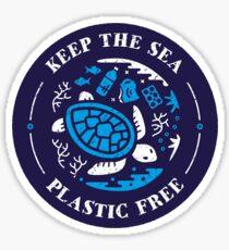 Halten Sie die Sea Plastic Free Marine Szene Sticker
