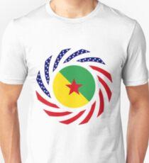 French Guianan American Multinational Patriot Flag Series Slim Fit T-Shirt