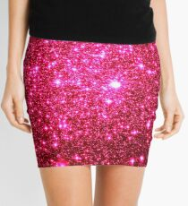 Hot Pink Galaxy Sparkle Stars Mini Skirt
