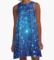 Vivid Blue Galaxy Sparkle Sterne A-Linien Kleid
