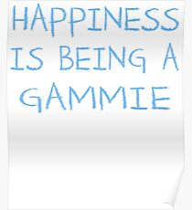Happiness Is Being A Gammie Grandma Baby Shower Heart Gender Reveal Party Mens Womens T Shirt You Baby Shower Gender Reveal Party Mens Womens T Shirt Funny Cute Gift  Poster
