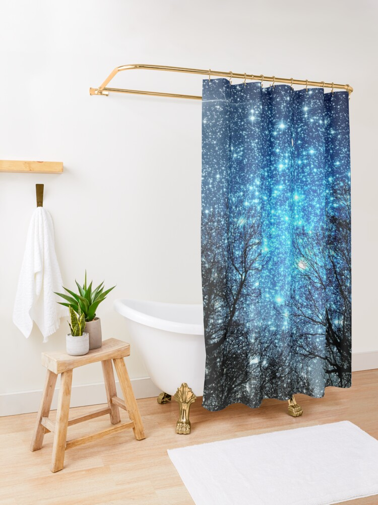Alternate view of Black Trees Sparkle Blue Space Shower Curtain