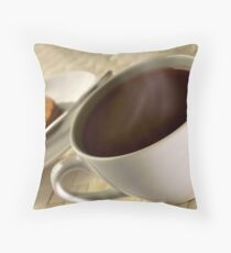 Black coffee for breakfast close up Throw Pillow