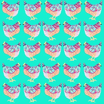 Colorful Chicken On Aqua Background by Melindatodd
