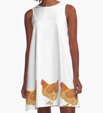 Happy Golden Hen A-Line Dress