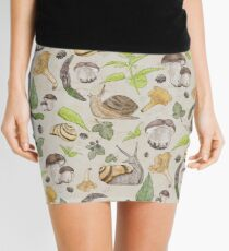 Woodland Snail in Watercolor Fungi Forest, Moss Green and Ochre Animal Pattern  Mini Skirt