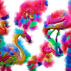 Flamingo In Abstract Watercolor by KirtTisdale