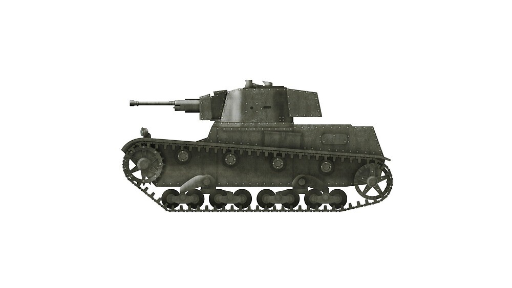 Polish WWII era Light Tank 7tp jw (without roundel) by Escodrion
