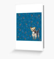 Yorkie on blue Greeting Card