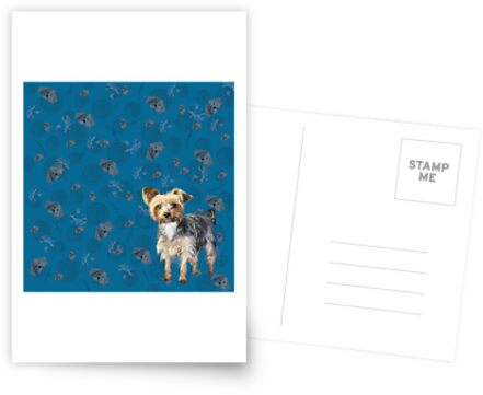 Yorkie on blue by chihuahuashower