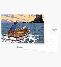 Tintin L'Ile Noire Castle Postcards