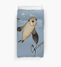 Galapagos Sea lion and bubbles Duvet Cover