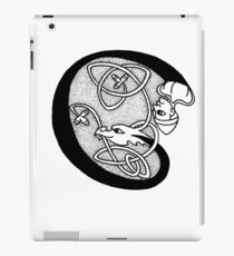 Knight and Dragon Alphabet - C - black and white iPad Case/Skin