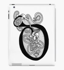 Knight and Dragon Alphabet - D - black and white iPad Case/Skin
