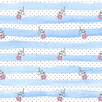 Polka Dots Stripes Pink Roses Pattern by ClaudiaFlores