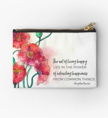Red Poppies Watercolor Studio Pouch