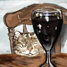 Cat and Wine Whimsical Cute Card! by CheekyEvil
