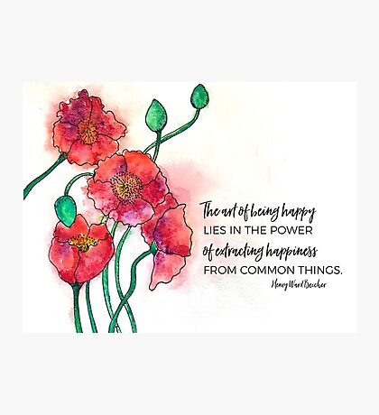 Red Poppies Watercolor Photographic Print