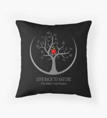 Give Back to Nature Logo - Dark Background Throw Pillow