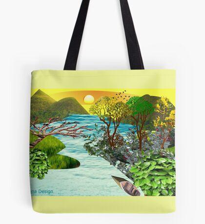 Leaf flower Pattern /lake side  ( 824 Views) Tote Bag