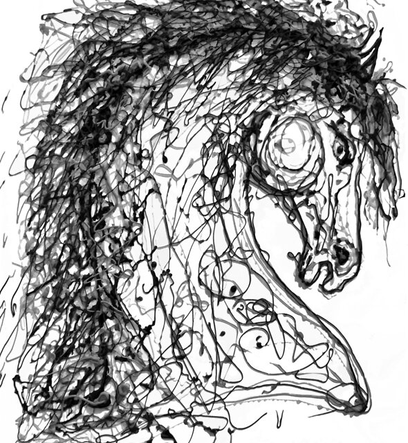 Horse Inspired by  Dripped Abstract Pollock Style for #RedBubble Products by OLena Art - brand