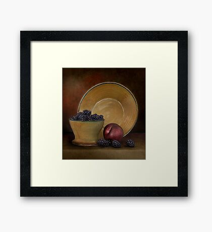 Blackberries And A Plum Framed Print