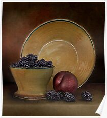 Blackberries And A Plum Poster