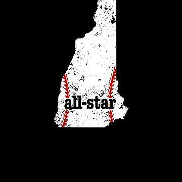 All Star Baseball Tee New Hampshire Youth Baseball Softball by shoppzee