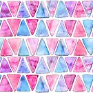 Bubble Gum Watercolor Triangles  by TigaTiga