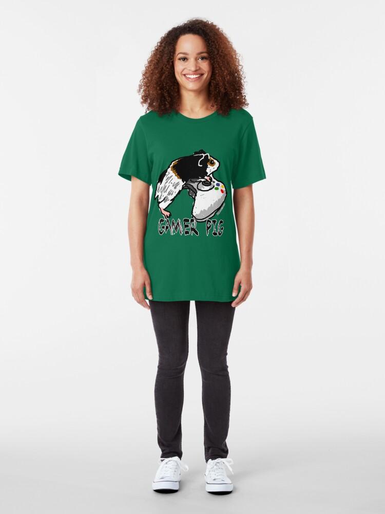 Alternate view of Guinea pig video gamer Slim Fit T-Shirt