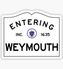 Entering Weymouth Massachusetts - Commonwealth of Massachusetts Road Sign Sticker