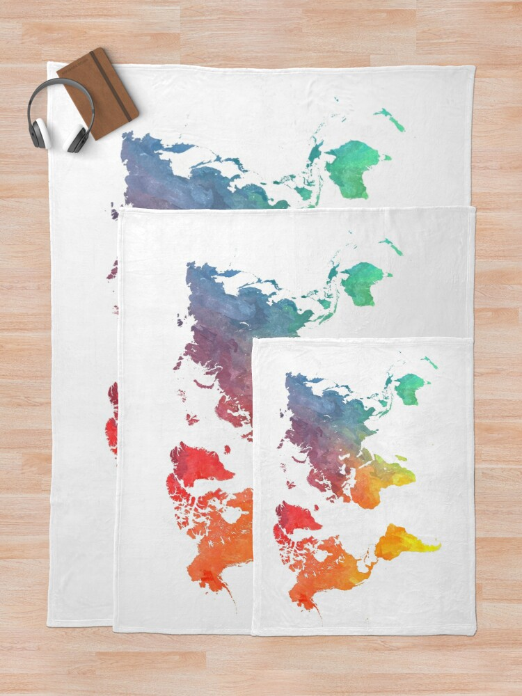 Alternate view of Map of the world colored Throw Blanket