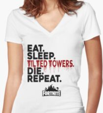 Eat Sleep Tilted Towers Women's Fitted V-Neck T-Shirt