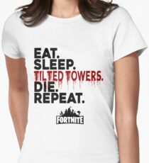 Eat Sleep Tilted Towers Women's Fitted T-Shirt