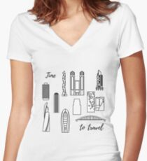Unusual Japanese architecture. Travel and leisure. Women's Fitted V-Neck T-Shirt