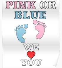 Pink Or Blue We Love You Baby Shower Heart Gender Reveal Party Mens Womens T Shirt You Baby Shower Gender Reveal Party Mens Womens T Shirt Funny Cute Gift Poster